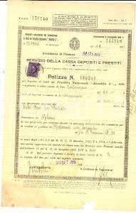 1941 MILANO REGNO ITALIA Polizza Prestito Nazionale 5% Bice CALVI per locanda