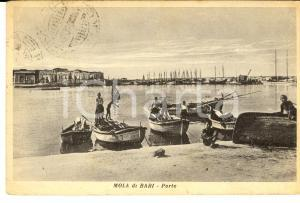 1950 MOLA DI BARI Veduta del porto *Cartolina ANIMATA con bambini sulle barche