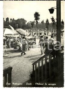 1958 PIOLTELLO/ LIMITO (MI) Spiaggia sul LAGO MALASPINA *ANIMATA FG VG