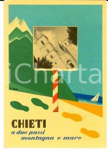 1950 ca CHIETI Veduta con cattedrale *Cartolina ILLUSTRATA FG NV