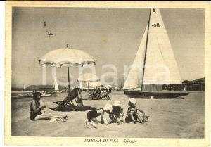 1956 MARINA DI PISA Veduta della spiaggia *Cartolina ANIMATA FG VG