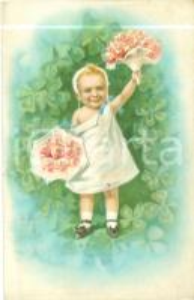 1911 BUON NATALE Bambino offre mazzi di fiori *Cartolina in rilievo FP NV