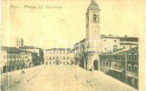1912 FANO (PU) Piazza XX Settembre *Cartolina FP VG DANNEGGIATA