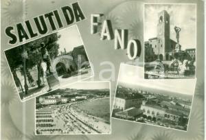 1961 FANO (PU) Vedutine Arco e statua di AUGUSTO Comune *Cartolina FG VG
