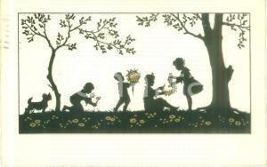 1937 BUONA PASQUA Bambini raccolgono fiori *Cartolina augurale ILLUSTRATA FP VG