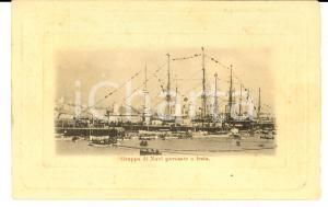 1900 ca REGIA MARINA Gruppo di navi pavesate a festa *Cartolina postale FP NV