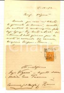 1892 MILANO Lettera ing. ROMANI collaudo canale BUSSERO - RONCO Famiglia TAVERNA