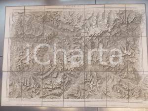 1873 DUFOUR Carte SUISSE DAVOS - MARTINSBRUCK *Mappa n° 15 75x55 cm