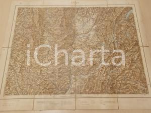1903 Istituto Geografico Militare Carta FRANCIA - LIONE *Mappa su tela 60x45 cm