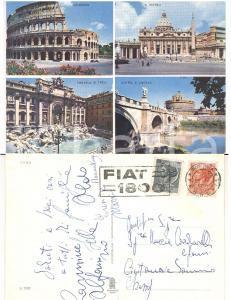 1959 ROMA Vedutine Colosseo *Cartolina TIMBRO PUBBLICITARIO FIAT 1800