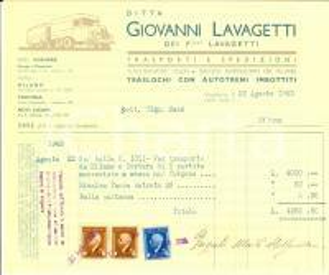 1943 VOGHERA (PV) Ditta Giovanni LAVAGETTI Trasporti *Fattura intestata bolli