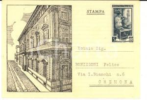 1952 CREMONA Biblioteca Governativa - Cartolina per ringraziamento donazione