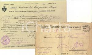 1918 WWI ROMA Istituto Nazionale delle Assicurazioni - Polizza Cesare RICOTTI