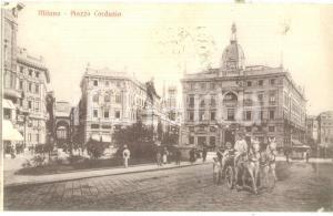 1918 MILANO Carrozza in Piazza CORDUSIO *Cartolina postale FP VG