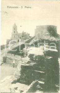 1930 ca PORTO VENERE (SP) veduta della Chiesa di SAN PIETRO *Cartolina FP NV