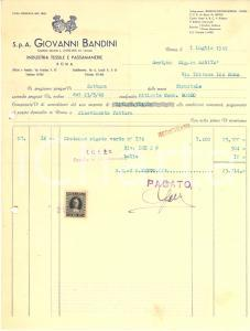 1949 ROMA Giovanni BANDINI Industria tessile e passamaneria *Fattura commerciale
