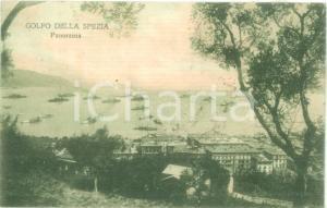 1920 LA SPEZIA Panorama del golfo con piroscafi Cartolina FP VG