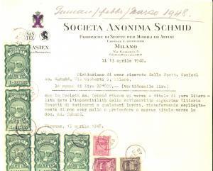 1948 MILANO Società Anonima SCHMID Fabbriche di stoffe - Ricevuta con bolli