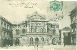 1907 CATANIA Facciata del teatro Massimo BELLINI Cartolina ANIMATA FP VG