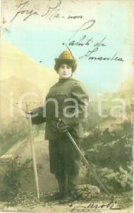 1914 ALPINI Donna in divisa da Alpina con sciabola e piccone Cartolina FP VG