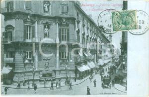 1908 PALERMO Piazza VIGLIENA e i Quattro Cantoni *Cartolina ANIMATA FP VG