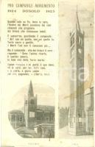 1925 DOSOLO (MN) Pro Campanile Monumento *Cartolina postale FP NV DANNEGGIATA