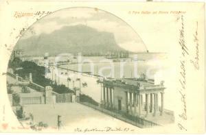 1901 PALERMO Foro Italico con Monte PELLEGRINo e veliero Cartolina FP VG