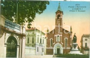 1935 ca ASTI Piazza e Monumento a Umberto I Chiesa SAN GIUSEPPE Cartolina FP VG