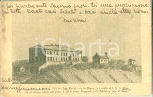 1943 SOVICILLE (SI) Villa FORTINI a San Rocco a Pilli Cartolina ILLUSTRATA FP VG
