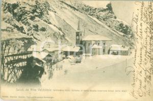 1903 RIVA VALDOBBIA (VC) Hotel delle Alpi innevato *Cartolina FP VG DANNEGGIATA