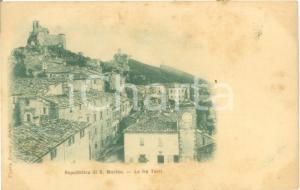1900 ca REPUBBLICA DI SAN MARINO Le Tre Torri e la Città *Cartolina FP NV