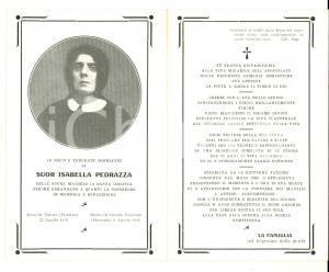 1926 CASOLA VALSENIO Suor Isabella PEDRAZZA maestra di SANTA DOROTEA *Santino