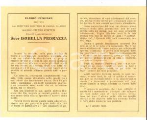 1926 CASOLA VALSENIO Elogio funebre di Pietro CORTESI per suor Isabella PEDRAZZA