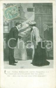 1906 INNAMORATI Schermaglie amorose di una coppia Cartolina postale FP VG