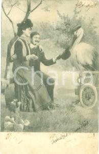 1903 INNAMORATI Amanti in campagna con la cicogna Cartolina postale FP VG