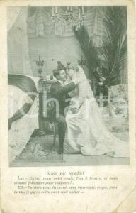 1905 INNAMORATI La prima notte di nozze Cartolina postale FP VG DANNEGGIATA