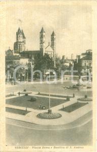 1950 VERCELLI Piazza Roma e basilica di SAN'TANDREA Cartolina FP VG