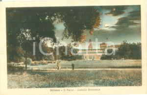 1928 MILANO Parco del Castello SFORZESCO *Cartolina ANIMATA FP VG