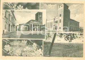 1955 ca SANTHIA' (VC) Vedutine con Casa del Popolo e risaia *Cartolina FG NV