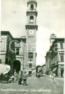 1956 MASSA LOMBARDA (RA) Passanti alla Torre dell'Orologio *Cartolina FG NV