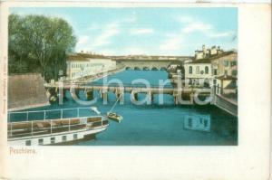 1900 ca PESCHIERA DEL GARDA (VR) Panorama con Ponte dei VOLTONI *Cartolina FP NV