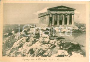 1940 ca AGRIGENTO Contadino su un mulo al Tempio della CONCORDIA Cartolina FG NV