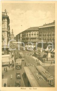 1935 ca MILANO Sfilata di tram e automobili in Via DANTE *Cartolina FP NV