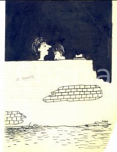 1970 ca Riccardo MANZI Sesso e comunismo *Disegno SATIRICO a china 22x28 cm