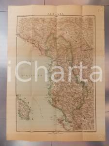 1950 ca ALBANIA Carta geografica 60x75 cm *Ed. Antonio VALLARDI MILANO