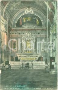 1915 ca CAGLIARI Interno Chiesa di SAN FRANCESCO Via Roma *Cartolina FP VG