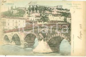 1903 VERONA Ponte romano e Castel SAN PIETRO *Cartolina postale FP VG