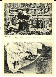 1945 ca ABBAZIA MONTECASSINO Tomba di san Benedetto distrutta *Cartolina