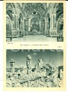 1945 ca ABBAZIA MONTECASSINO Cattedrale prima e dopo bombardamenti *Cartolina