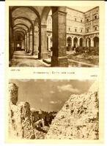 1945 ca ABBAZIA MONTECASSINO Cortile delle scuole distrutto *Cartolina